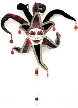 Venezianische Maske Joker mit Stock
