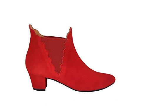 Gennia - Katerine. - Damen Stiefel & Stiefeletten Chelsea mit Niedriger Block Absatz 5 cm, Velourleder Rot Guinda, grösse 40