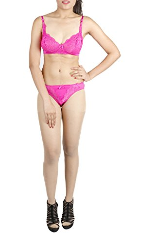 LITTLE LACY All Over Nett Full Cup Designer Bra & Panty Set ( Icon-C_7_Hot Pink_36 C)  available at amazon for Rs.545