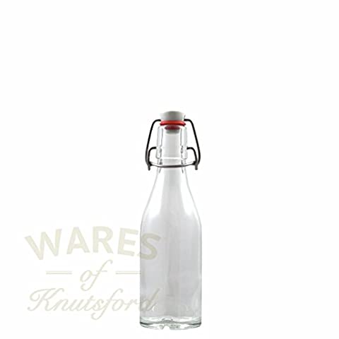 Pack of 6 250ml Glass Bottle Clear with Swing Topper, Clip top Deluxe Quality - Recomended for Carbonated Drinks.(Kilner Style)