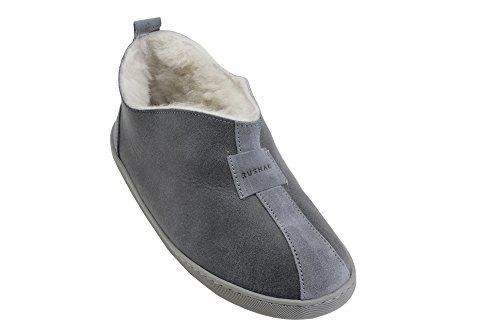 Herren, Damen Luxus Echte Schaffell Stiefel Hausschuhe, Voll Gefuttert Mit Wolle Grau / Weiß