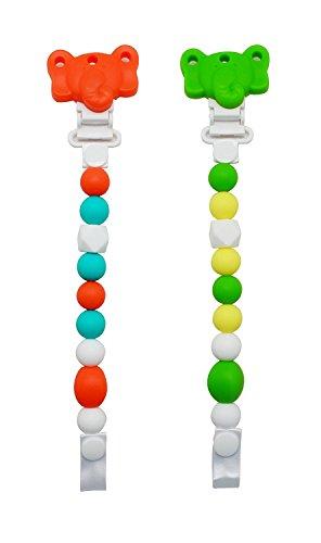 Meta-U 2 In 1 Elefanten-Silikon-Zahnen Perlen Und Schnuller-Clip FÜR Mädchen Und Jungen Mit 100% Safe Kautabletten Perlen Kleinkind & Baby Teether Spielzeug (Set 1)