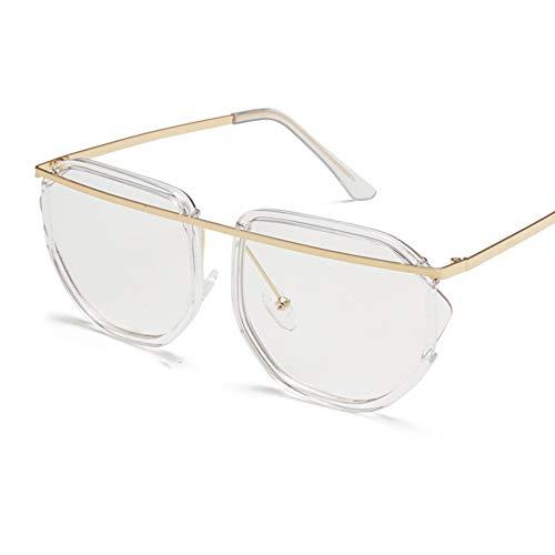 YHgiway Sonnenbrille für Männer Frauen Aviator Designer Street Metal Frame-Braune Farbtöne UV400 Mirrored Lens YH6874,Transparent