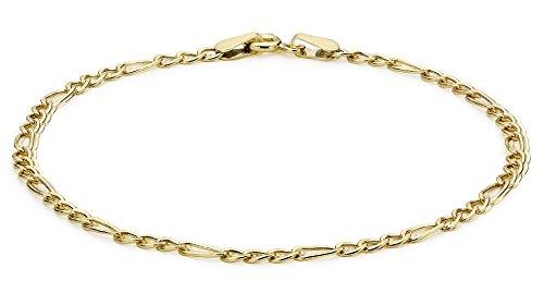 Carissima Gold Damen  9k (375) Gelbgold Hollow 2mm Figaro Fußkette 23cm/9zoll 1.25.0104
