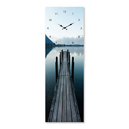 Cuadro Cristal Templado Reloj Azul nórdico salón