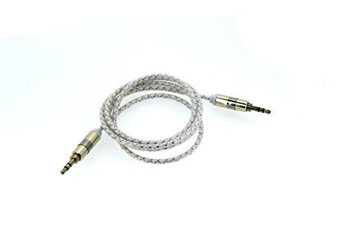 Cavo audio alluminio intrecciato, FG 1m cavo audio stereo Premium 24K Placcato Oro Cavo Connettore per cuffie, iPhone, iPod, iPad, Auto o stereo White