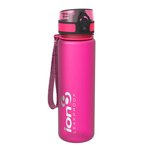 Ion8 auslaufsichere schlanke Wasserflasche / Trinkflasche, BPA-frei, 500ml / 18oz, Rosa (Frosted Pink) -