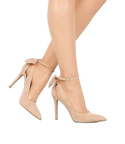 Damen High Heels Elegant D'Orsay Pumps Bowknot Schuhe Hochzeit Abend Parteischuhe Sommerschuhe - High Heels-band