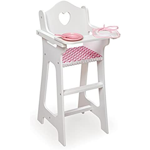 Badger Basket Doll High Chair with Plate, Bib and Spoon - Chevron Print Toy, White/Pink by Badger