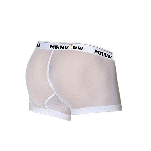 Vamoro Männer Sexy Unterwäsche Brief Gedruckt Boxer Briefs Shorts Bulge Pouch Unterhosen Trunks Boxershorts Retroshorts Hipster Shorts Herren-Slips(Weiß,M)