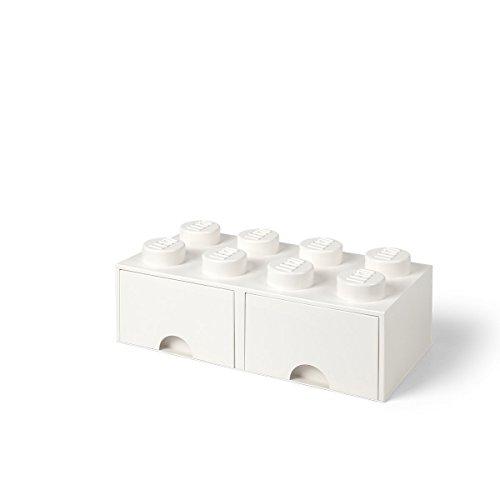LEGO 4006 Brick 8 Knöpfe, 2 Schubladen, stapelbar Aufbewahrungsbox, 9,4 l, weiß, Plastik, Legion/White, 50 x 25 x 18 cm