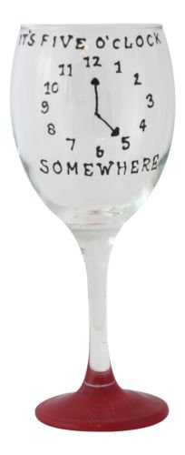 Red 'It's Five 'O' Clock Somewhere' Hand Painted 340ml Wine Glass by Memories-Like-These UK