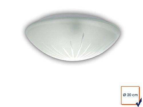 Plafonnier à LED klassissche Couverture Bol Ø 20 cm en verre satiné, Belle lampe Vestibule LED avec fermeture à baïonnette