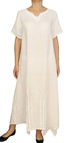 56056 Damen Frauen Leinen Kleid, Maxikleid, Kurzarm Longkleid, blau, grün, rosa, weiss, M, L, XL, 2XL. Weiß