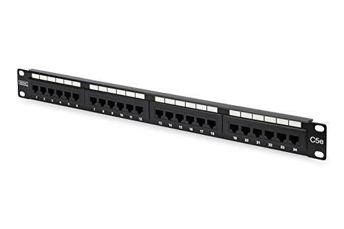 DIGITUS Professional, Cat 5e LSA Patch Panel, 24-Port (RJ45), 1 HE, ungeschirmt, Schwarz (RAL 9005)