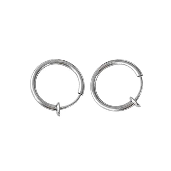 2 Pcs Fake Stud Earrings Clip On Piercing Body Nose Lip Rings Hoop Earrings Hypoallergenic Body Jewelry for Women Men Girls (Silver, S) JNG ✦【Simple Small Hoop Earrings Set】✦1 Pairs premium quality hypoallergenic earrings,silver and gold color, Small: 12mm diameter,Medium: 14mm diameter,Large: 16mm diameter ,multi-size meet your daily needs. ✦【Material】✦ Stainless Steel.Don't worry about the irritation and rashes. ✦【Multi-Purpose to Wear】✦The endless small hoop earrings set can be used for cartilage, nose, lips, ears and body piercings for single or multiple holes. 1