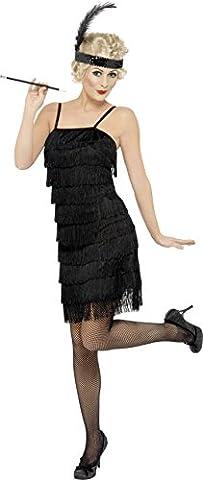Smiffys Déguisement Femme, Danseuse de Charleston à franges, robe et bandeau avec plumes, Taille 40-42, Couleur: Noir, 33451