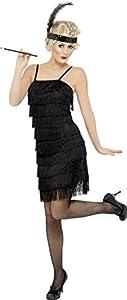 Smiffys Disfraz de Joven con Flecos a la Moda de los años 20, Negro, Vestido yAdorno pa