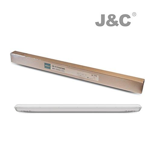 J&C Feuchtraumleuchte 60cm 18W LED Tube Deckelampe 4000K Wasserdicht IP65 leuchtröhre AC220V-240V PC Badleuchte 1500LM Kanalbeleuchtung Ra>80 SMD 2835 Wegbeleuchtung für Nassraum Garten Parkplatz - 6