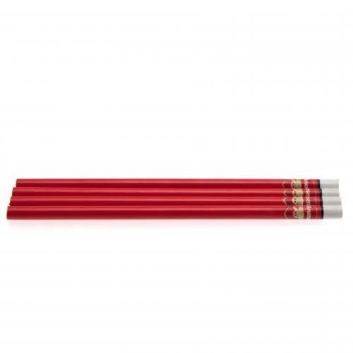 Arsenal FC Official Football Crest 4 Pack Pencil Set  One Size   Red