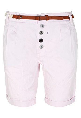 Sublevel Damen Chino-Shorts mit Gürtel | Bermuda Hose Kurz | Kurze Hose für Frauen in Angesagten Farben Rose L