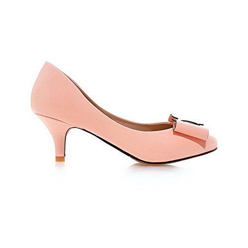 AllhqFashion Femme Tire Rond à Talon Correct Pu Cuir Couleur Unie Chaussures Légeres Rose