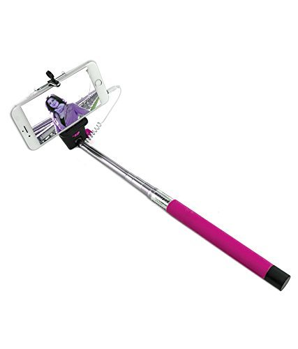 AT Shopping AUX Selfie Stick/Rod Expandable upto 29 Inches Compatible For Vodafone Smart 4 turbo Mobile Phone - Pink  available at amazon for Rs.219