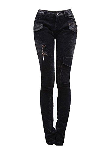 Schwarze enge Cordhose Jeans von Punk Rave mit Cargotaschen K-197 (XL) (Cordhose Denim)
