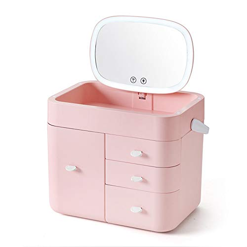 LTJHJTCD Kosmetikspiegel Neuer Multifunktions-USB-Jack-Speicher-kosmetischer Fall LED-Noten-Schalter-Kosmetikspiegel-kreatives Handlampen-Licht -