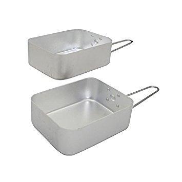 Set of 2 Folding Mess Tins, Camping Cookware Pans