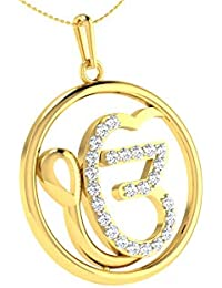 Savi Jewels Ek Onkar Pendant With Chain For Men,Women 18K Yellow Gold Plated In American Diamond Clear Cz Jewellery