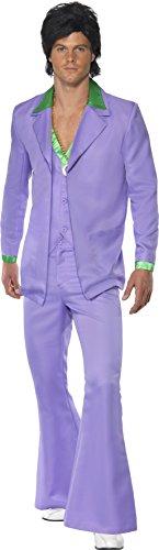 1970 Party Kostüm (Lavendel 1970er Jahre Anzug Kostüm Jacke mit Mock Hemd und Weste Hose,)