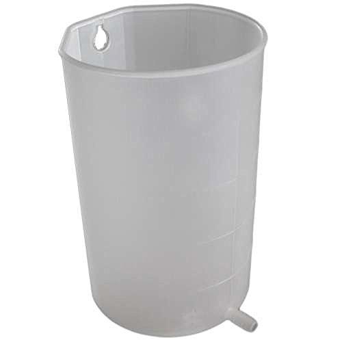 Irrigatorbecher mit 1 Liter Inhalt - milchig transparent - mit Aufhängeöffnung und tiefem Auslauf und abgeflachter Rückseite