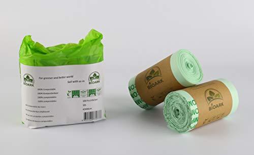 Bolsa de basura ecológica 100% biodegradable BIOARK, 10 litros, 100 unidades, extragruesa, biodegradable...