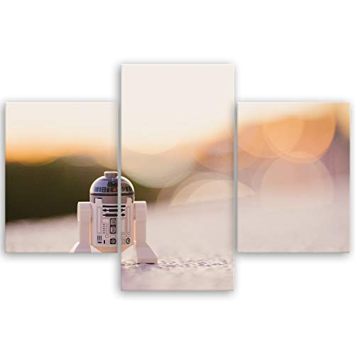 ge Bildet® hochwertiges Leinwandbild - R2-D2-90 x 59 cm mehrteilig (3 teilig)