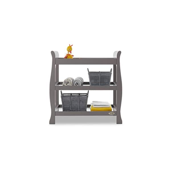 Obaby Stamford Open Changing Unit - Taupe Grey Obaby Two large open shelf spaces for plenty of storage Top of the unit is the perfect size for accommodating a changing mat Carefully considered table top perfect for the use of a changing mat 1