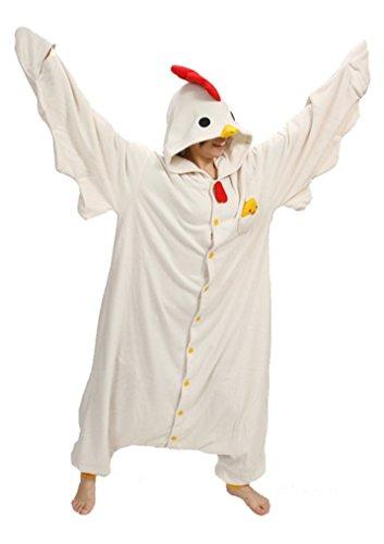 Honeystore, pigiama unisex da adulti, tema pulcino, ideale come costume in maschera per Halloween Cock Large