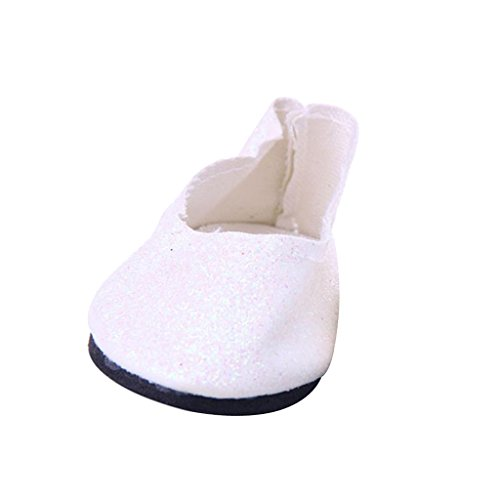 Sharplace Modische Puppenschuhe Pailletten Schuhe für 18 Zoll Mädchen Puppen Dress up Zubehör - Weiß 18-zoll-puppe High Heel-schuhe