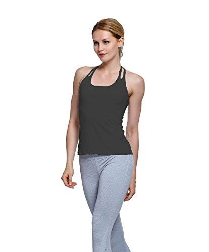 Harem Yoga Frauen Starker Halt Sport Laufweste aermelloses Yoga-Shirt Sports Hemd Black