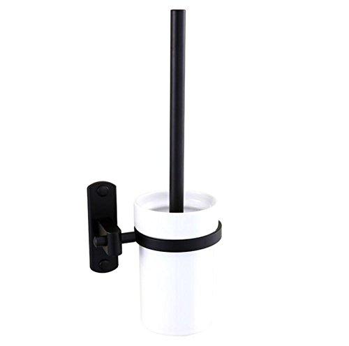 ZXY Wandmontage der Toilettenbürsten-Set, Retro Space Aluminium Toilettenbürstenhalter Badezimmer Reinraum Pinsel Hardware Anhänger - Schwarz