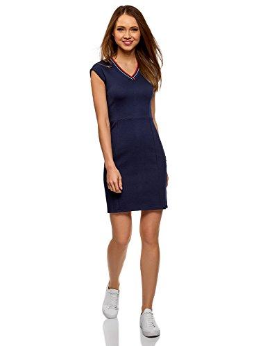 oodji Ultra Damen Enges Kleid mit V-Ausschnitt, Blau, DE 36 / EU 38 / S - Kurz V-ausschnitt Kleid