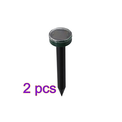 2x Solarbetriebene Ultraschall-Mole Nagetier Maulwurf Solar Repeller【DE】2PCS