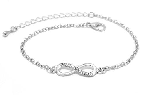 2LIVEfor Armkettchen Silber und Gold Armband Unendlich Infinity Armkette Damen Unendlichkeit Anhänger Schleife Armkette Unendlichkeitszeichen Perlen (Silber Glitzer)