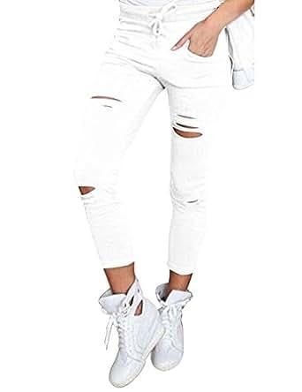 Minetom Donne Sportiva Stretch Slim Fit Strappati Matita Scarni Pantaloni A Vita Alta Jeans Skinny Stirata Pantaloni Bianco EU S