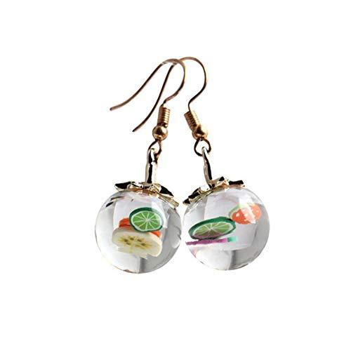 XAFXAL Damen Ohrringe,Mode Persönlichkeit Obst Glas Flasche Der Frauen Lustig Transparente Perlen Anhänger Ohrringe Schmuck - Magnolia Glas-anhänger