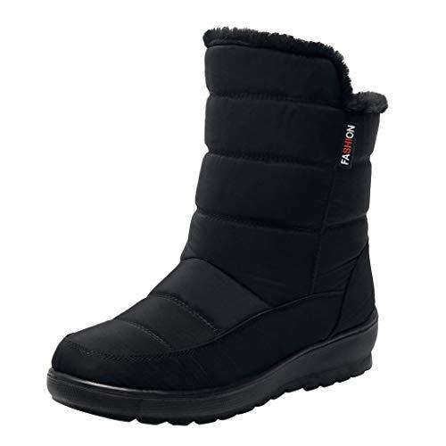 Yowablo Damen Stiefeletten Warme Winterstiefel Damen Schneeschuhe Winter Ankle Short Bootie wasserdichte Schuhe (36 EU,Schwarz)