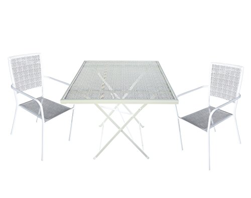 Set 2 sedie con tavolino in ferro zincato colore bianco - arredo da giardino in ferro miglior prezzo