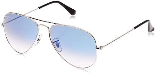 Ray-ban aviator, occhiali da sole unisex-adulto, argento (003 / 3f), 58 mm