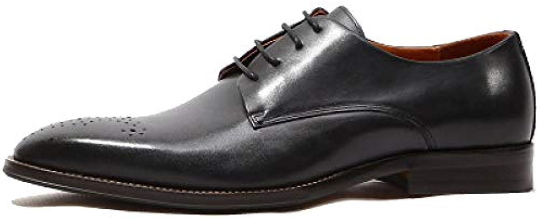 DHFUD Hombres Hecho A Mano Retro Broch Tallado Negocios Casual Encaje Zapatos Derby Juventud Zapatos De Cuero -