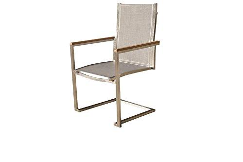 OUTFLEXX exklusiver Freischwinger Sessel in silber, aus solidem Edelstahl und hochwertiger Textilene mit Armlehnen aus FSC-Teakholz, 58,5 x 53 x 89 cm, Schwingstuhl, korrosionsbeständig